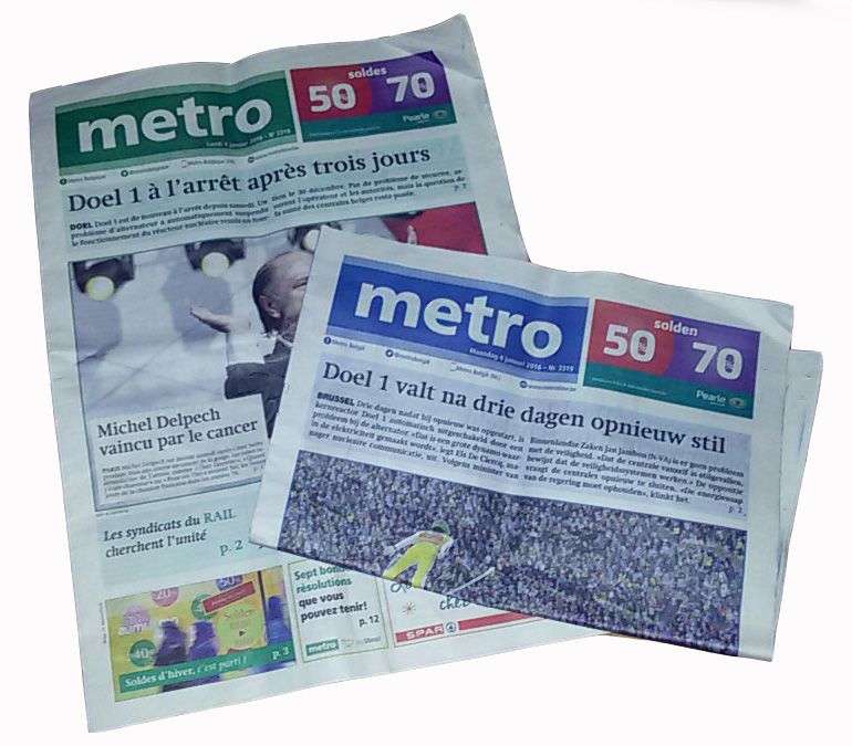 Quotidiani Metro del 4 Gennaio 2016